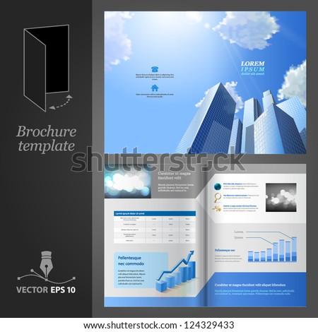Brochure template design. Modern business center.