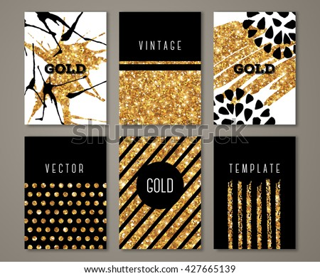 Brochure template design set with brush stroke and geometric elements. Vector illustration. Grunge vintage cards with golden paint, retro style poster or flyer. Polka dots and stripes on gold #427665139