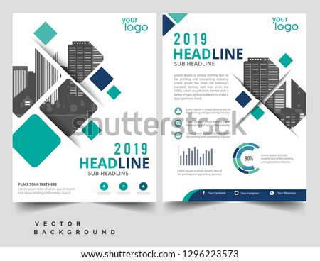 Brochure template layout, cover design annual report, magazine, flyer or booklet in A4 with blue geometric shapes on polygonal background - Vector