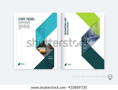 Brochure template layout, cover design annual report, magazine, flyer or booklet in A4 with blue green dynamic triangular geometric shapes and folding stripe ribbon. Business vector Illustration.