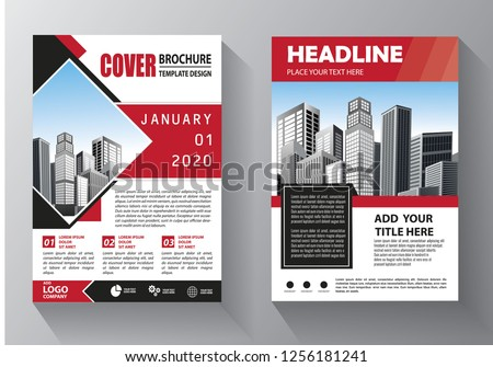 Brochure template layout, cover design annual report, magazine, flyer or booklet in A4 with red geometric shapes on polygonal background