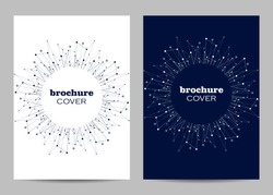 Brochure template layout design. Abstract geometric background with connected lines and dots.
