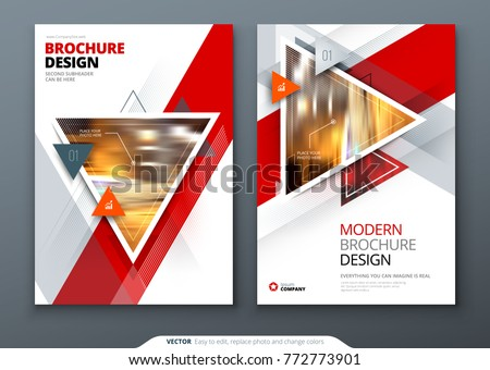 Brochure template layout design. Corporate business annual report, catalog, magazine, flyer mockup. Creative modern bright concept with triangle shapes