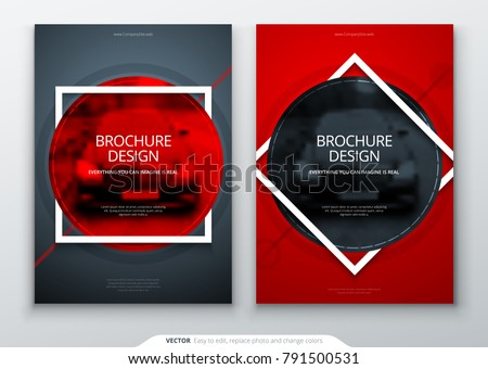 Brochure template layout design. Corporate business annual report, catalog, magazine, flyer mockup. Creative modern bright concept with square circle round shape
