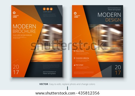 Brochure template layout design. Corporate business annual report, catalog, magazine mockup. Layout with modern orange elements and urban style photo. Creative poster, booklet, flyer or banner concept