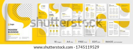 Brochure template layout design,yellow minimal business profile template layout,16 pages brochure, annual report minimal template layout design, multipage orange brochure template layout.