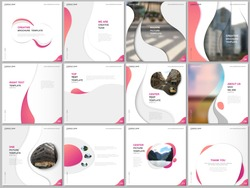 Brochure templates with trendy colorful circles, round shapes. Travel covers design templates for square flyer, leaflet, brochure, report, presentation, blog, social media advertising, online promo.