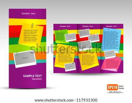 Brochure Vector Tri-fold Layout Design Template colorful stiker note travel portfolio history
