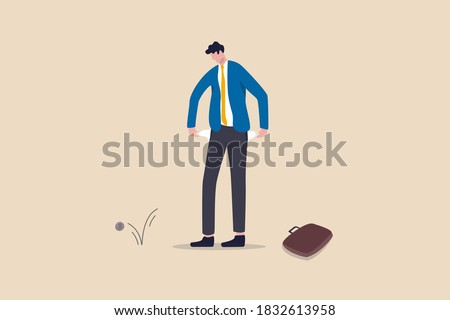 Broke businessman, bankruptcy poor man or financial problem due to jobless and unemployed in Coronavirus COVID-19 economy crisis concept, sad broke businessman holding his pant empty pockets no money. Stock photo ©