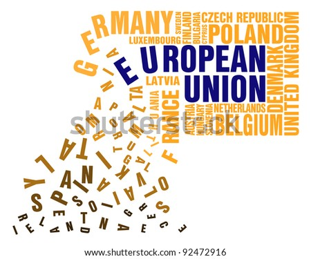 Broken and collapsed  puzzle names of members of the European Union