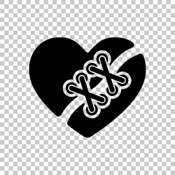 Broken and patched heart. Black symbol on transparent background