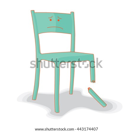 broken and upset chair