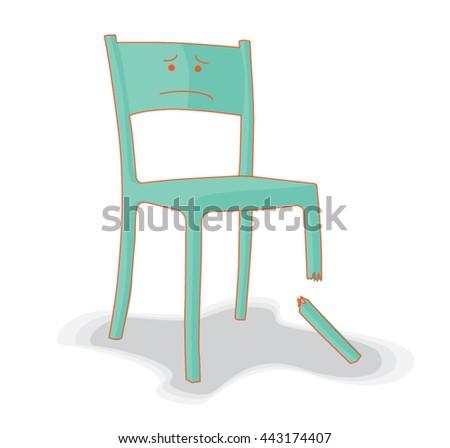 broken and upset chair