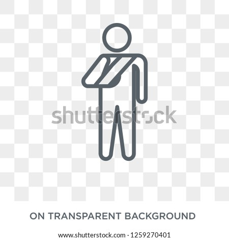 Broken arm icon. Trendy flat vector Broken arm icon on transparent background from Insurance collection. High quality filled Broken arm symbol use for web and mobile