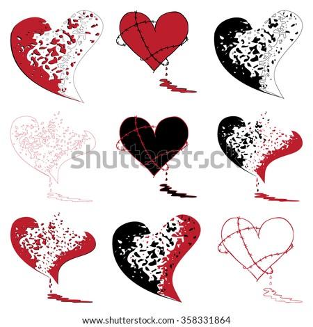broken bleeding heart icon set