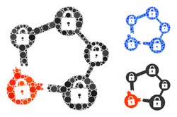 Broken blockchain network composition of round dots in various sizes and color tones, based on broken blockchain network icon. Vector round elements are organized into blue collage.