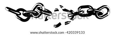 Broken chain black and white vector illustration