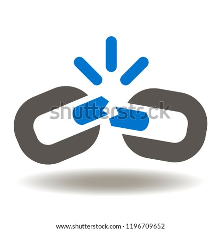 Broken Chain Link Icon Vector. Link Wreck Web Illustration. Failure Disconnection Idea Logo. Blockchain exploding symbol.