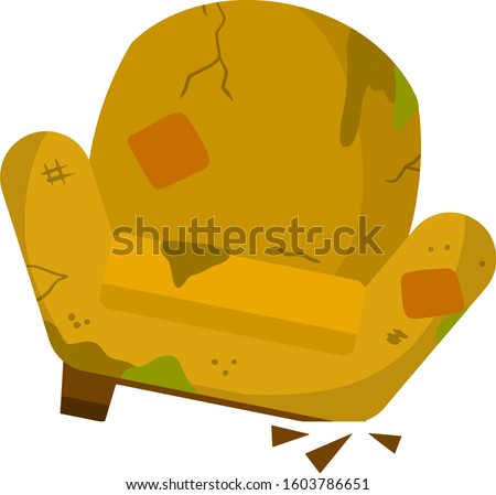 Broken chair. Old armchair. Torn fabric and patches on the furniture. Cartoon flat illustration stock photo