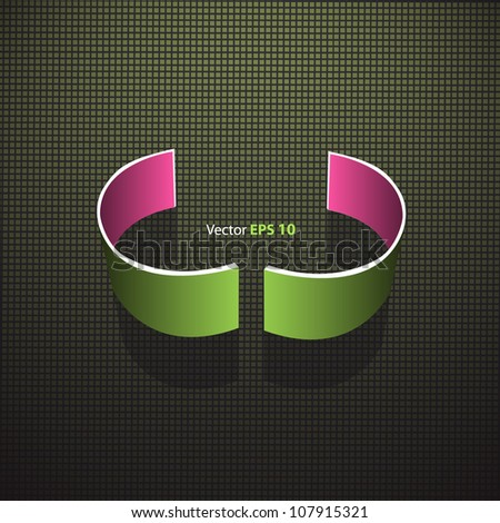 Broken circle in abstract background. Vector web design.