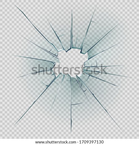 Broken, cracked or crashed glass vector design with realistic hole, shatters and cracks, sharp edges and fragments on transparent background. Damaged glass of window or door pane and windscreen Сток-фото ©