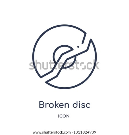 broken disc icon from multimedia outline collection. Thin line broken disc icon isolated on white background.