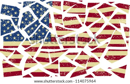 Broken-down American flag. Vector illustration