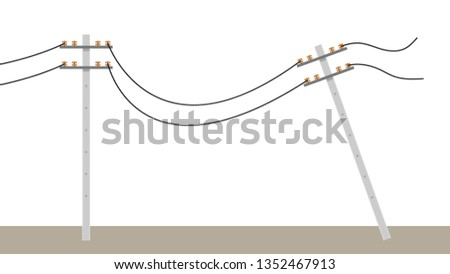 broken electric pole vector. electric pole on white background. free space for text. copy space.
