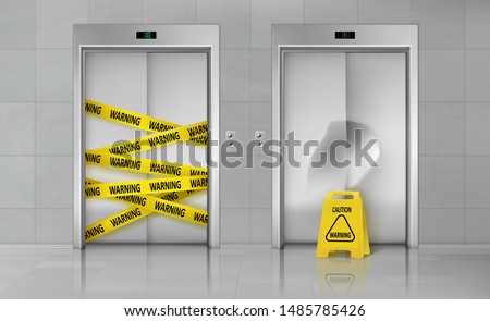 Broken elevators closed for repair or maintenance 3d realistic vector concept. Caution sign standing near lift damaged doors with dent, elevator doorway wrapped with warning yellow stripe illustration