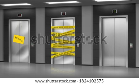Broken elevators closed for repair or maintenance. Warning sign hang on lift damaged doors with dent, chrome metal doorway gate wrapped with warning yellow stripe, realistic 3d vector Illustration