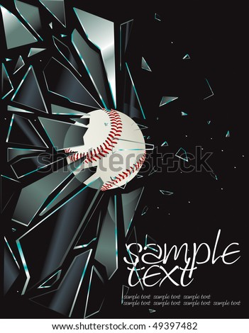 Broken Glass Baseball Vector Drawing