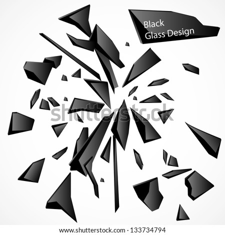 Broken Glass Black 1 Vector Drawing