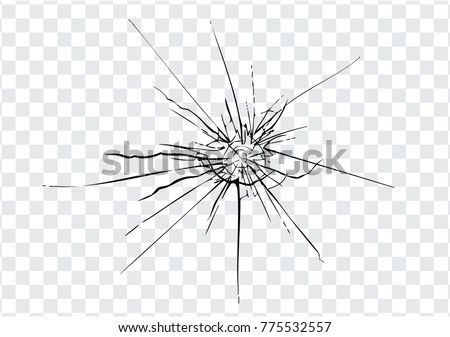 Broken glass, cracks, bullet marks on glass