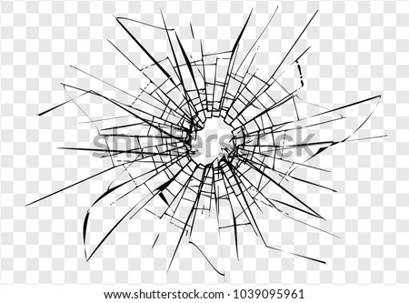 Broken glass, cracks, bullet marks on glass. High resolution