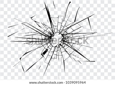 broken glass  cracks  bullet