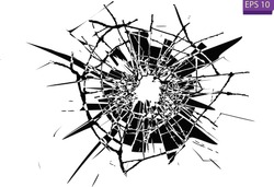 Broken glass, cracks, bullet marks on glass. High resolution. Texture glass with black hole.