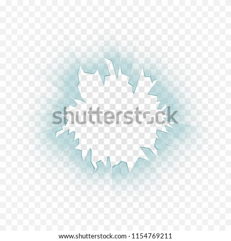Broken glass, cracks on glass. Realistic bullet hole in glass with shards on transparent background. Vector