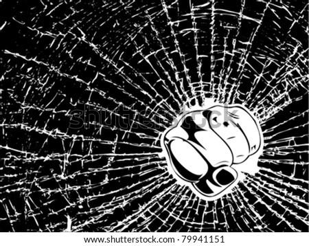Broken Glass Fist. One Color Illustration. - stock vector