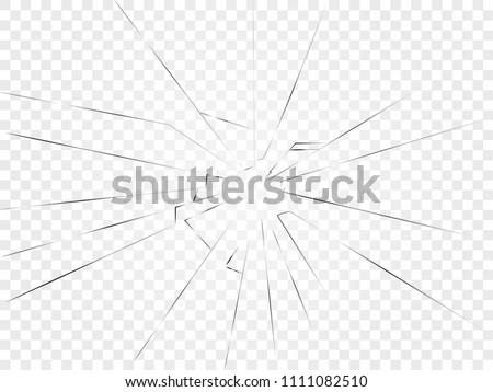 broken glass. Lateral cracks on a transparent background.