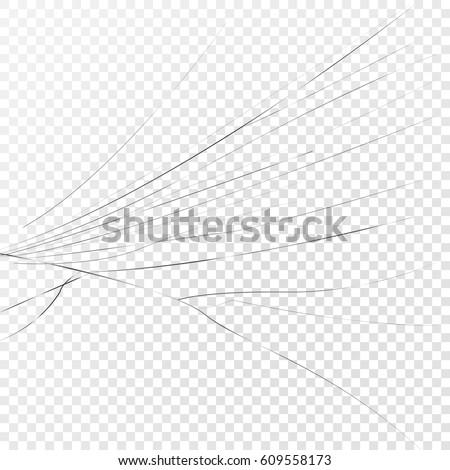 broken glass lateral cracks on