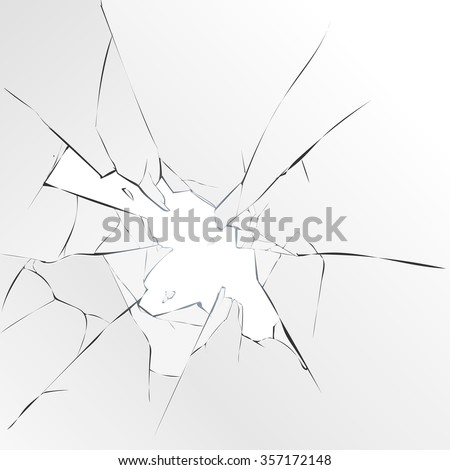 broken glass on a white