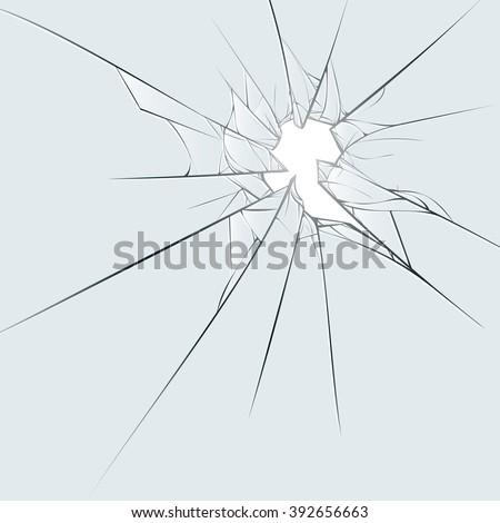 Broken glass on blue background. Cartoon vector illustration EPS10