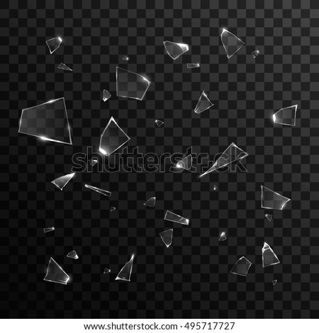 broken glass pieces isolated