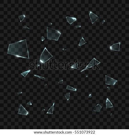 Broken glass pieces. Isolated on black transparent background. Vector illustration, eps 10.