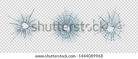 Broken glass.  Realistic texture of smashed windows or damaged car windshield. Vector illustration isolated on transparent background
