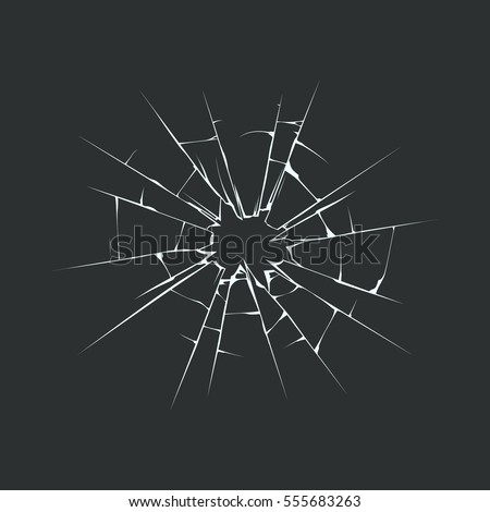 Broken glass template. Isolated on black background. Vector illustration, eps 10.