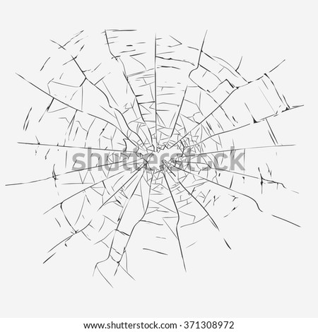 broken glass with cracks and