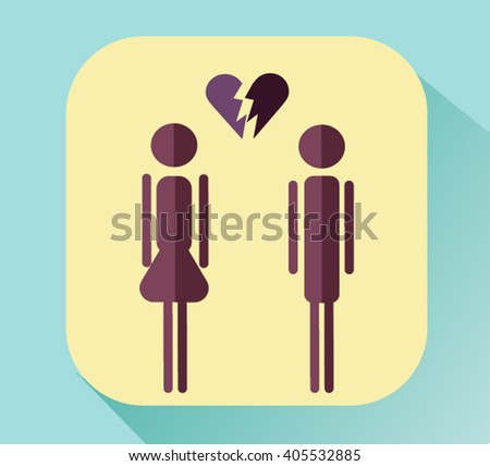 broken heart between the two silhouettes.The concept of family psychology.vector illustration #405532885