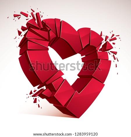 Broken Heart concept breakup, 3D realistic vector illustration of heart symbol exploding to pieces. Creative idea of breaking apart love, break up.