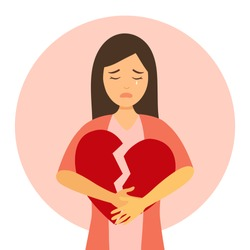 Broken heart concept vector illustration on white background. Sad woman crying and hugging red broken heart pieces.